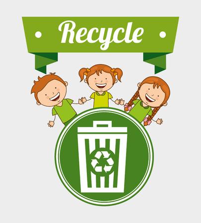 niños reciclando: niños ecológicos de diseño, ilustración vectorial gráfico eps10