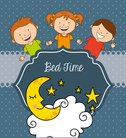 starry night: bed time design, vector illustration   graphic Illustration