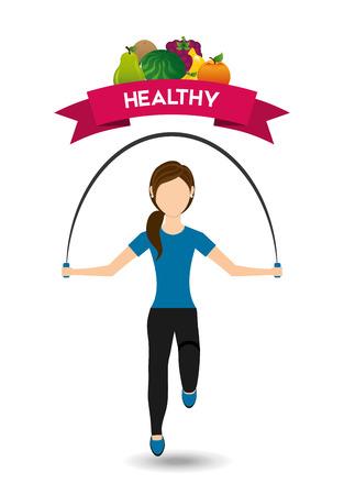 watermelon woman: healthy lifestyle design Illustration