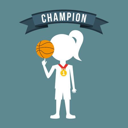 balon de basketball: celebrar diseño campeón Vectores