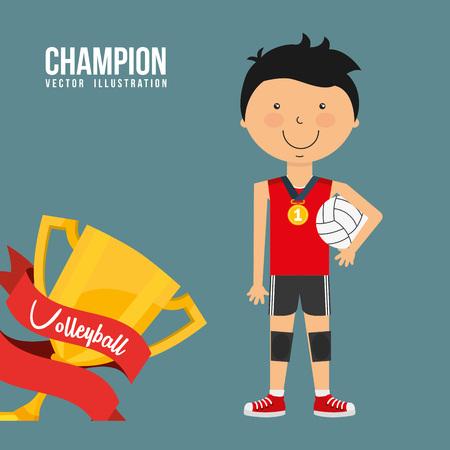 balon de voley: celebrar diseño campeón Vectores