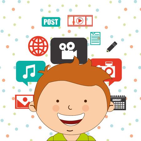 post teen: technological kids design, vector illustration eps10 graphic