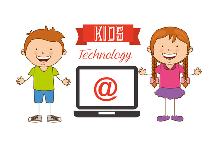 girl laptop: technological kids design, vector illustration eps10 graphic