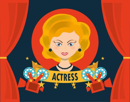actress: filmed entertainment design, vector illustration eps10 graphic Illustration