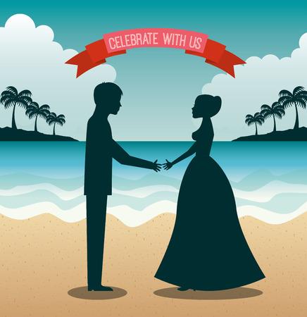 matrimonio feliz: diseño de las vacaciones de matrimonio, ilustración vectorial gráfico eps10