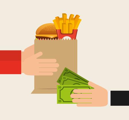 facture restaurant: conception de la livraison de nourriture, illustration graphique eps10