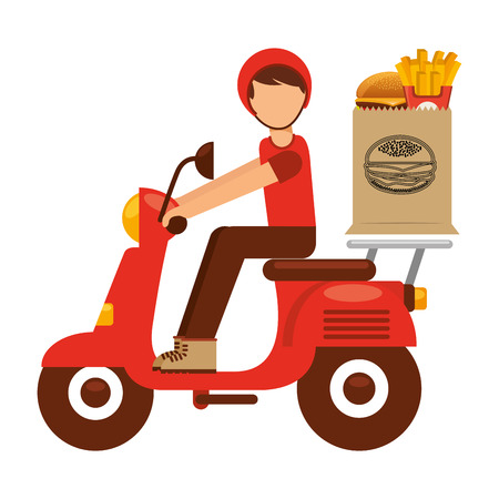 paper delivery person: food delivery design, vector illustration eps10 graphic Illustration