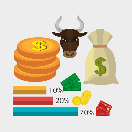 incomes: Money and savings design over white background, vector illustration