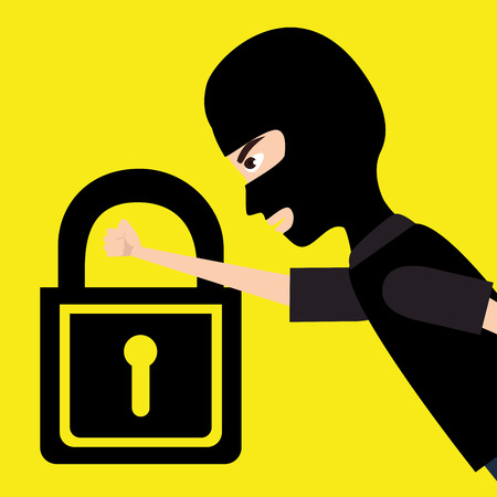 data theft: Security and surveillance system over yellow background, vector graphic.