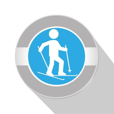 skie: Sport pictogram icon over white background, vector graphic design. Illustration