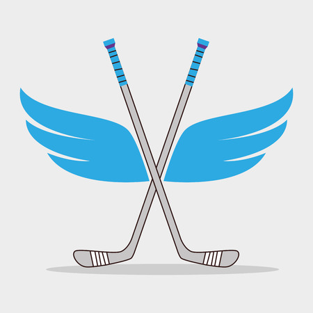 hockey: Sport hockey equipment  design over white background, vector graphic.