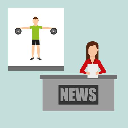 newscaster: sports news design, vector illustration eps10 graphic