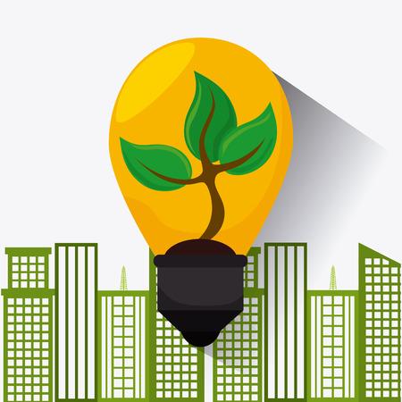environmental contamination: Green energy ecology design over white background, vector illustration.