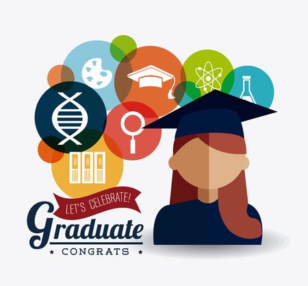 diploma: Diseño de la graduación del estudiante sobre el fondo blanco, ilustración vectorial eps10 Vectores