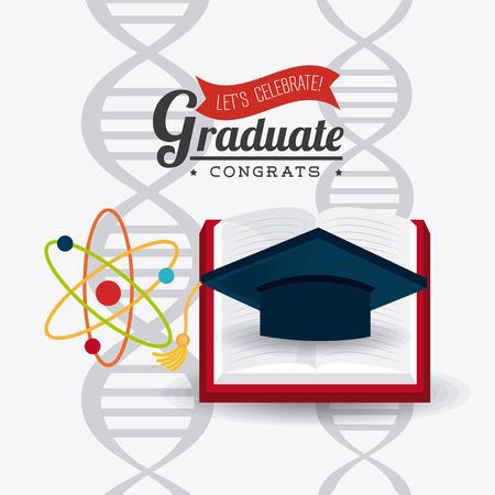 Student afstuderen ontwerp op een witte achtergrond, vector illustratie eps10