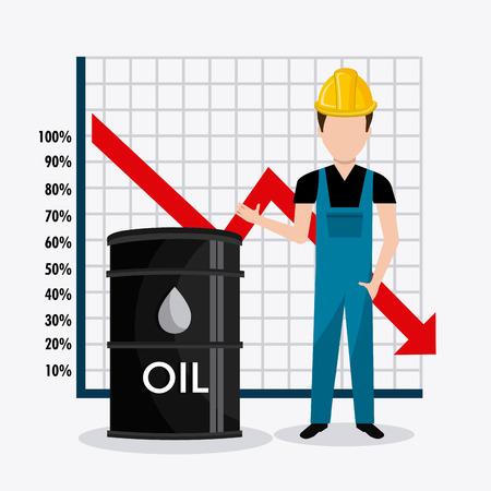 trabajador petroleros: Los precios del combustible de diseño economía, ilustración vectorial eps10