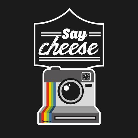 say cheese: retro style photo design, vector illustration eps10 graphic Illustration