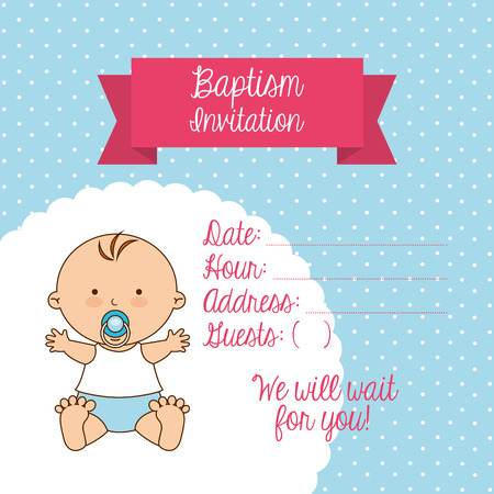 divine will: baptism invitation design, vector illustration eps10 graphic
