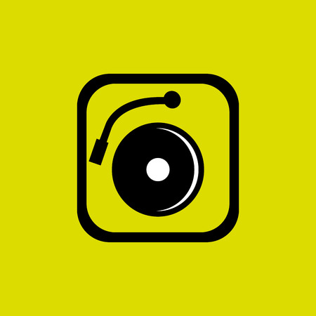 turntable: Dj electro music turntable icon over yellow background, vector illustration Illustration