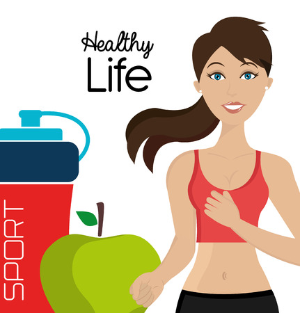 Healthy fitness lifestyle icons, vector illustration graphic. Ilustração