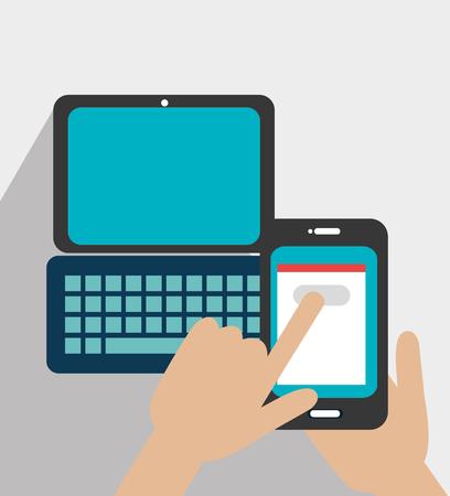 socializando: Social media and ecommerce design, vector graphic. Vectores
