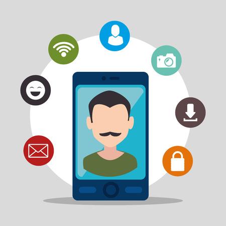 socializing: Los medios sociales y el dise�o de comercio electr�nico, gr�fico de vector.