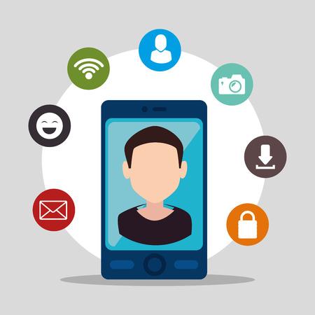 socializing: Social media and ecommerce design, vector graphic. Illustration