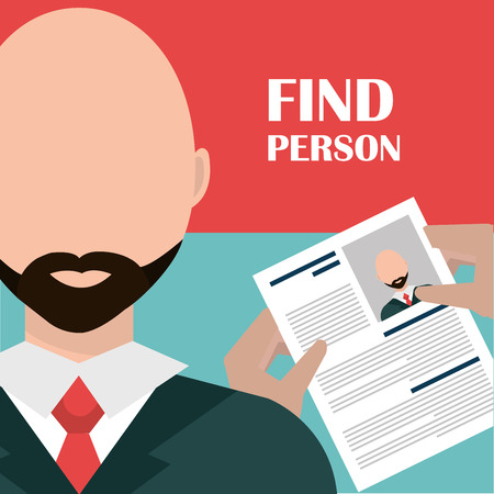 job icon: Find person and job interview graphic design, vector illustration