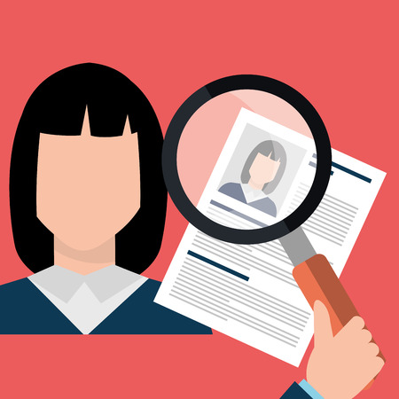 job interview: Find person and job interview graphic design, vector illustration