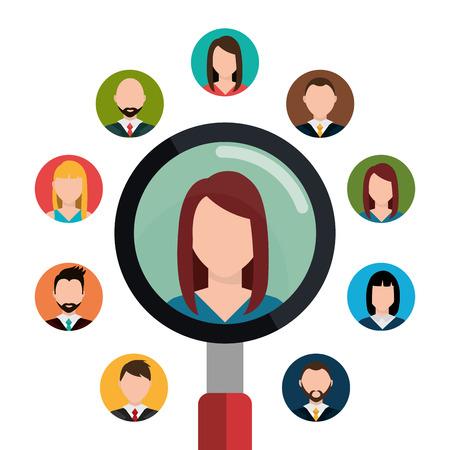 人と仕事のインタビューのグラフィック デザイン、ベクトル図を見つける
