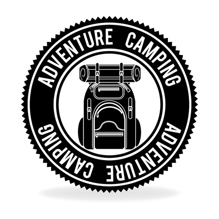 peace stamp: Summer camping and travel cartoon design, vector illustration. Illustration