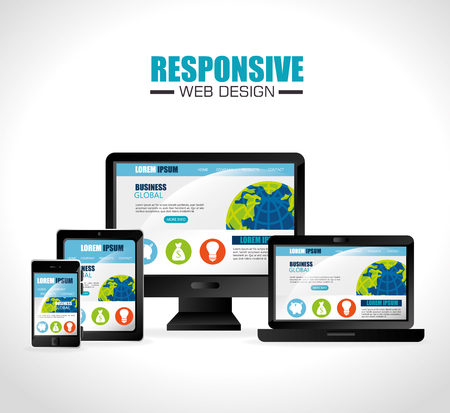 mobile website: Responsive web and technology design, vector illustration eps10.
