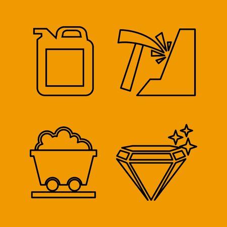 mineria: icono de la miner�a escenograf�a, ilustraci�n vectorial gr�fico