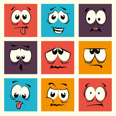 face: Funny cartoon face  graphic design, vector illustration. Illustration