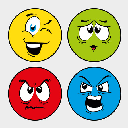 Funny cartoon face  graphic design, vector illustration. Иллюстрация