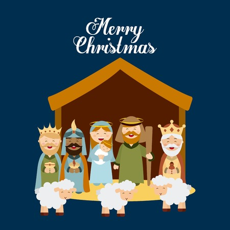 Mother Mary: Christmas manger characters design, vector illustration graphic