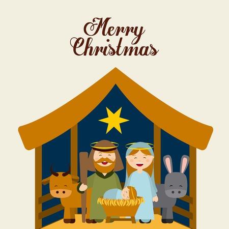 manger: Christmas manger characters design, vector illustration graphic