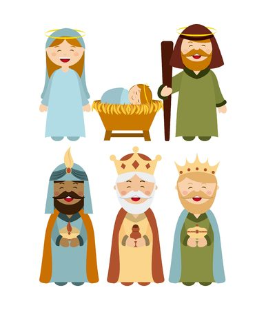 pesebre: Diseño de la Navidad personajes del pesebre, ilustración vectorial gráfico Vectores
