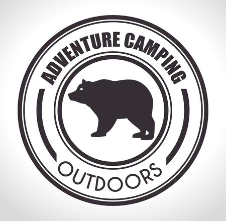oso negro: campamento de verano y el dise�o del tema de los viajes, ilustraci�n vectorial.