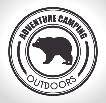 cartoon bear: Summer camping and travel theme design, vector illustration.