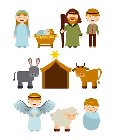 adviento: Dise�o de la Navidad personajes del pesebre, ilustraci�n vectorial gr�fico Vectores