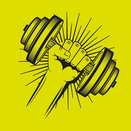 hand lifting weight: hard work in the gym design, vector illustration graphic