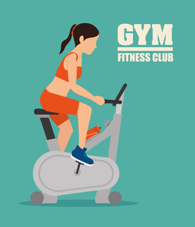 spinning: Gym and fitness lifestyle design, vector graphic.