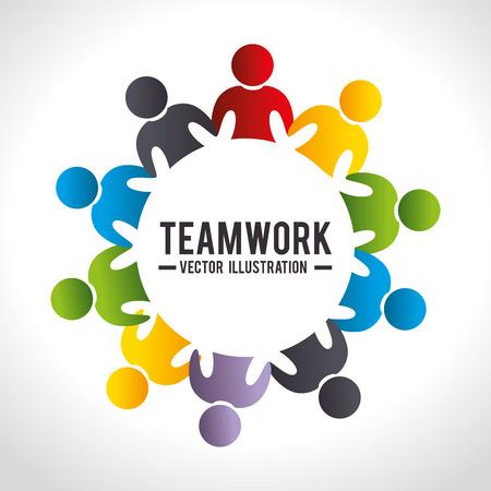 ビジネス チームワークとリーダーシップ グラフィック デザイン、ベクトル イラスト。  イラスト・ベクター素材