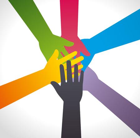team hands: Business teamwork and leadership graphic design, vector illustration. Illustration