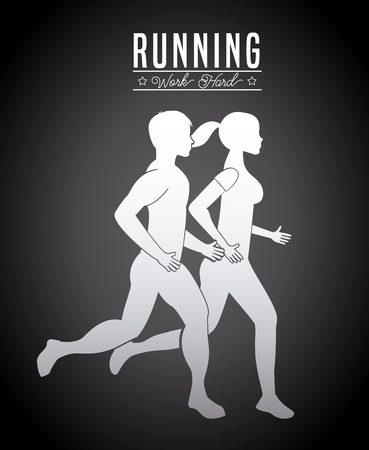 hombres corriendo: fitness center design, vector illustration  graphic