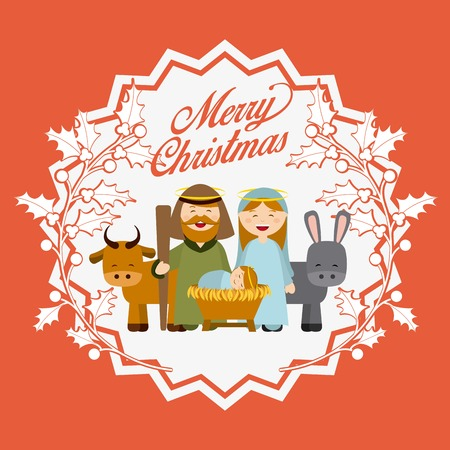 christmas religious: Christmas manger characters design, vector illustration graphic