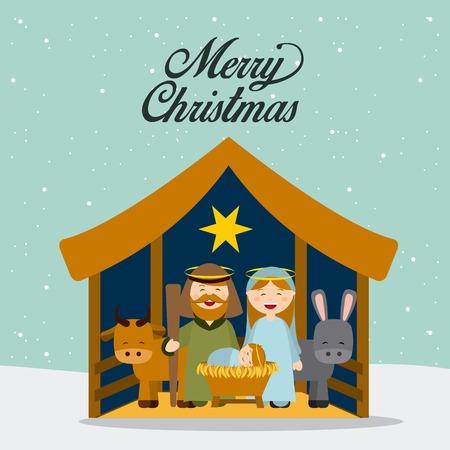 Kerstmis manger karakters ontwerp, vector illustratie grafische Vector Illustratie