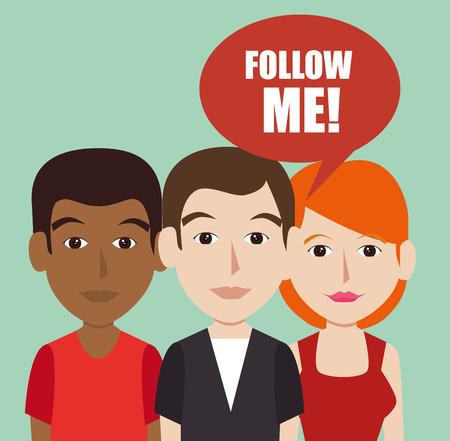 socializing: S�gueme moda de dise�o, ilustraci�n vectorial sociales Vectores