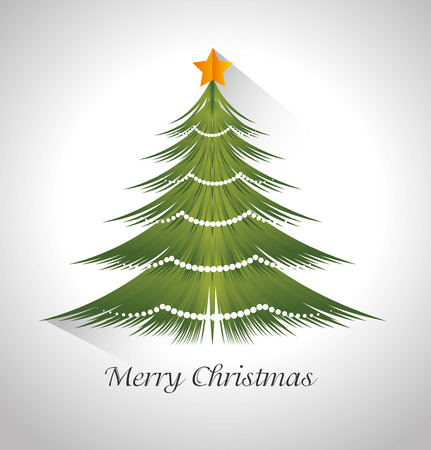 christmas tree illustration: Merry christmas card with tree pine cartoon, vector illustration graphic.